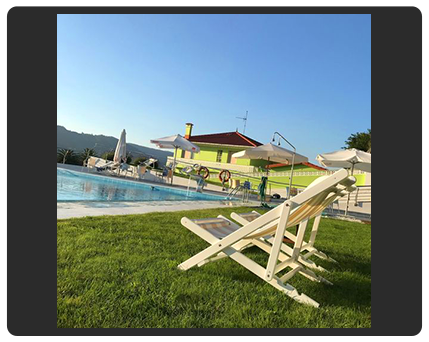 deck chairs around pool